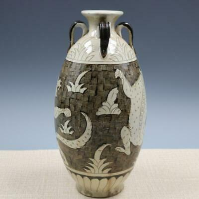 Chinese ancient antique hand make tiger pattern vase a1088