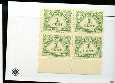 Newfoundland Stamp Mint Block 1 cent Postage Due MNH FOG Co49