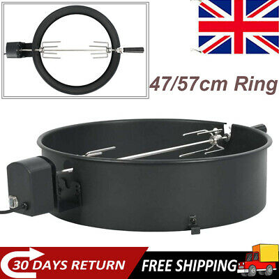 Electric BBQ Rotisserie Grill Roast Rod Spit Universal Kit Motor Windproof Ring