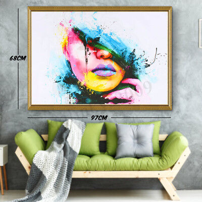 Modern Abstract Girl Wall Home Decor Art Oil Painting Canvas Frameless Picture