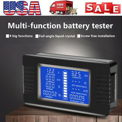 US Battery Tester Power Voltage Current Impedance Capacity Energy Meter Monitor