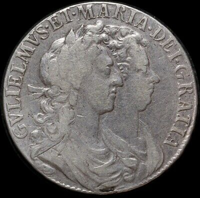 1689 Silver Half Crown William And Mary S#3434 good Fine