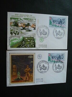 D Day Normandy 6 June 1944 Lot 2 Letters Stamp First Day Cover  France 1944-1974