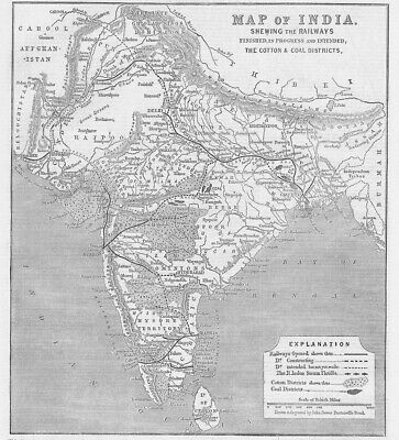 Map of India Showing the Railways - Antique Print 1865