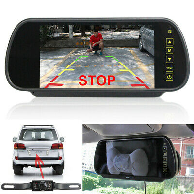 7in LCD Mirror Monitor+Wireless Car Reverse Rear View Backup Camera Night Vision