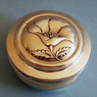 Beautiful Antique Sterling SILVER Flower Lily Lilium Round Snuff Pill Box!