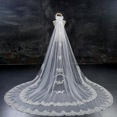 2T 3M 4M Long Cathedral Bridal Wedding Veils with Comb White Lace Accessories UK