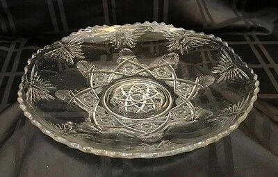 Clear Glass Footed Dish/ Server/Tray Butterflies/Stars/Fans Scalloped Edge