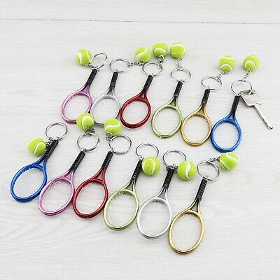 12Pcs Tennis Keychain 6-colored Racket Ball Sport Key Ring Set