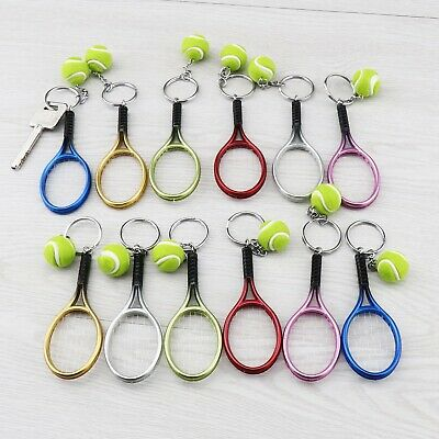 12Pcs Tennis Key Chain 6-colored Racket Ball Sport Style Gift