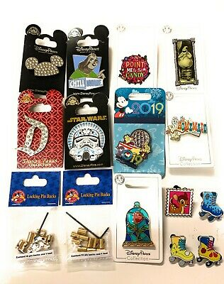 Disney Parks 15 Pin Trading Lot Set On Cards & - Pin Backs - Mystery Pins - NEW