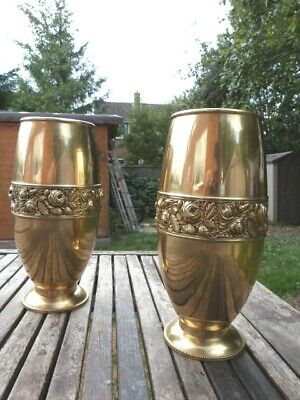 LOVELY PAIR OF LARGE ANTIQUE 1920s BRASS VASES.
