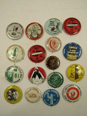 17 Timber Carnival County Fair Pin Back Button Lot, Lumberjack Souvenir 1954-69