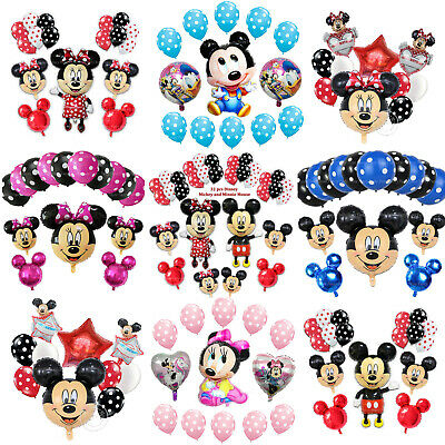 Disney Mickey Minnie Mouse Birthday Balloon Foil Latex Gender Reveal Baby Shower