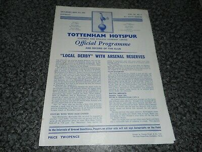 TOTTENHAM HOTSPUR ' SPURS '  reserves  v  ARSENAL reserves  1959/60 SEP 5  DERBY