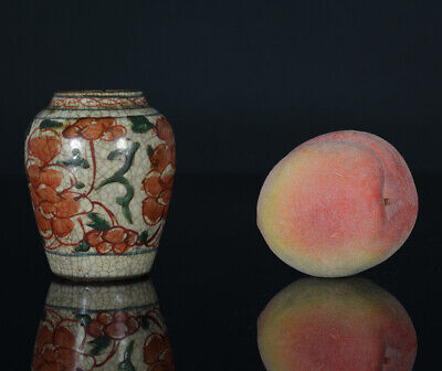 A BEAUTIFUL antique CHINESE PORCELAIN WUCAI TRANSITION MINITURE JAR 17TH CENTURY
