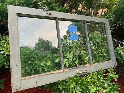 Vintage Basement Window sash 34 x 18 old 3 pane from 1926 With handle