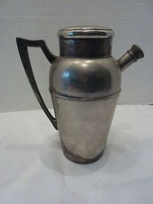 Antique Vintage J F Silverplate Cocktail Shaker Pitcher with Handle