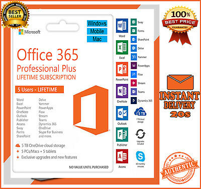 INSTANT Microsoft Office 365 2016 2019 Pro Plus Lifetime 🔥 5 PC/MAC/Mobile 5TB