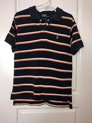 Polo By Ralph Lauren 4 4T Navy Orange Stripe Shirt Boys Top Short Sleeve