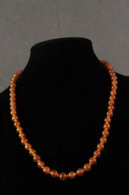 VINTAGE Artisan Jewelry 7MM Carnelian Beaded Necklace CHINESE SILVER Clasp