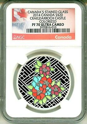 2014 Canada $20 Canada's Stained Glass Craigdarroch Castle Colorized NGC PF70 UC