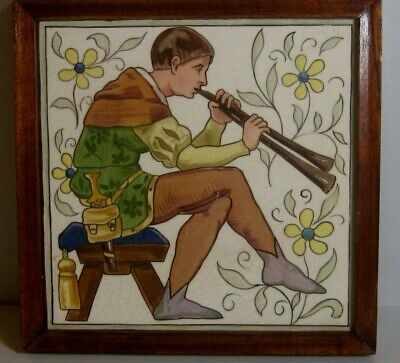 Antique Minton Arts & Crafts Aesthetic Medieval Musician Tile Henry Stacy Style