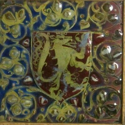 Antique PILKINGTON Arts & Craft Pottery Lustre Rampant Lion heraldic shield Tile