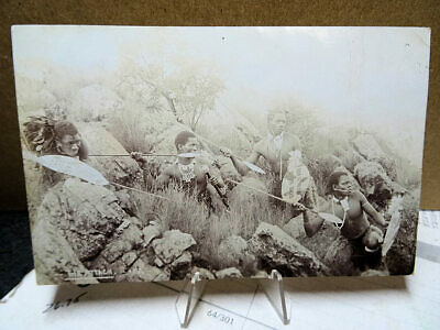1910 RPPC Photo Postcard South Africa The Attack Group Zulu of Warriors