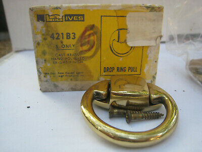 "NOS! LOT of 5 VINTAGE IVES 1.75"" DOOR / DRAWER DROP RING PULL, 421B3, BRASS"