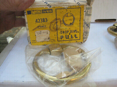 "NOS! LOT of 5 VINTAGE IVES  3"" DOOR / DRAWER DROP RING PULL, 423B3, BRASS"