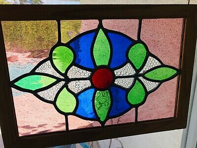 "Artisan Stained Glass Window Hanging Panel Victorian Design 11"" x 15.75"" Vintage"