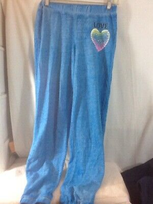 Woman's Sz Sm 3-5 HARD CANDY Blue LOVE Banded Bottom Lounge Pants pre-owned
