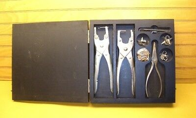 Vtg Bell System Sargent 1001A Telephone Installer Pawl Pin Tool Kit Klein Pliers