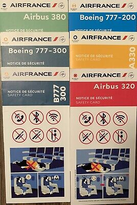 Air 🇫🇷France A 380 / 330 /320 / 2X 777-300/ 1X 777-200 Issues Safety Cards