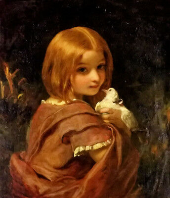 Dream-art hand painted Oil painting James Sant - innocence Young girl with birds