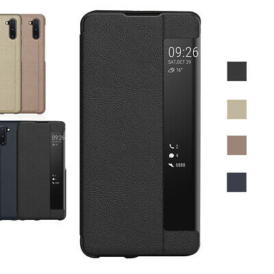 For Samsung Galaxy S10 S9 S8 S7 Plus Note 10+ Smart View Leather Flip Case Cover