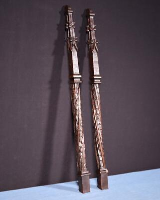 *Pair of Antique Gothic Carved Architectural Trim Pillars Solid Oak Wood Salvage