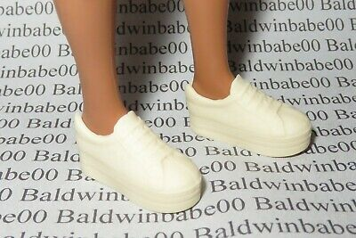 Shoes ~ Curvy Fashionista Barbie Doll Cream Faux Lace Flat Foot Tennis Sneakers