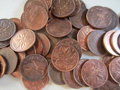 Roll of 1980 Canada Small Cents (UNC RED 50 1 Penny Canadian Coins) (R130)