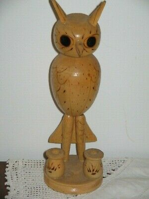 Retro Wooden Hand Made Owl Toothpick Holder with Pokerwork Circa 1970's 19.5cm H