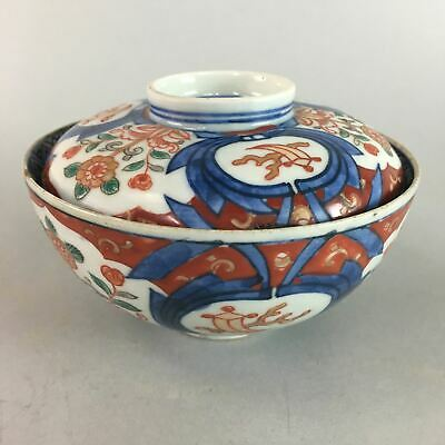 Antique Japanese Imari Lidded Bowl Edo Porcelain 1860 Gold Repair Kintsugi PT645