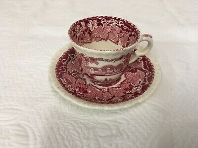 Masons Vista Red Transferware England Miniature Tea Coffee Cup and Saucer