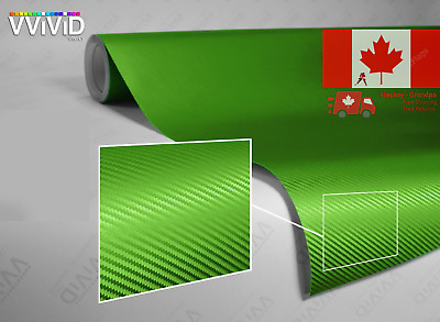 Lime Green 3D Carbon Fiber Vinyl Wrap Roll With XPO Air Release Technology - ...