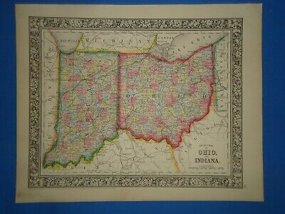 *SALE* - 1860 INDIANA - OHIO MAP Old Antique Original Atlas Map ~F