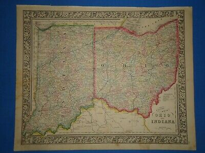*SALE* - 1864 INDIANA - OHIO MAP Old Antique Original Atlas Map ~J