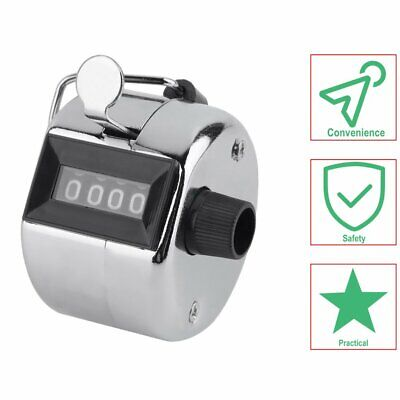 Tally Counter Hand Held Clicker 4 Digit Chrome Palm Golf People Counting Club GN