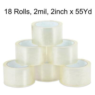 18 ROLLS - 2 INCH x 55 Yards (165 ft) Clear Carton Sealing Packing Package Tape