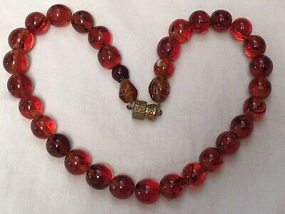 Vintage Art Deco 1920s to 1930s French faux amber orange glass bead necklace