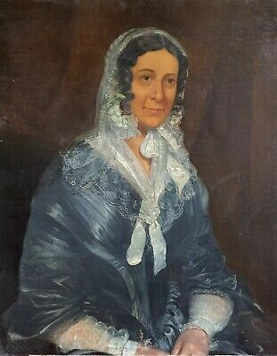 Large Victorian Oil Painting - Portrait Of Country Lady With Lace Bonnet